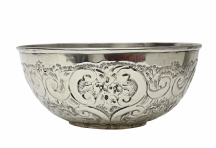 Moroccan Hammam Bowl Vintage made of Silver Maillechort Hand Engraved Large 20 cm 8'' (Ref HB30)